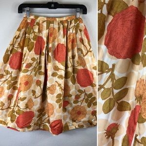Vintage 1950s NOVELTY Skirt Fall Abstract Roses M